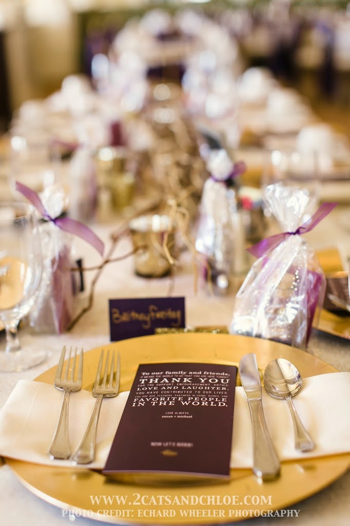 Eggplant Purple and Gold Wedding Place Setting