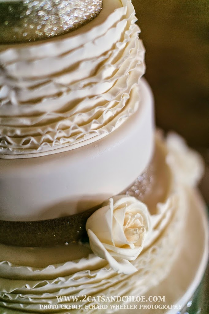 Wedding Cake with Ruffles and Glitter