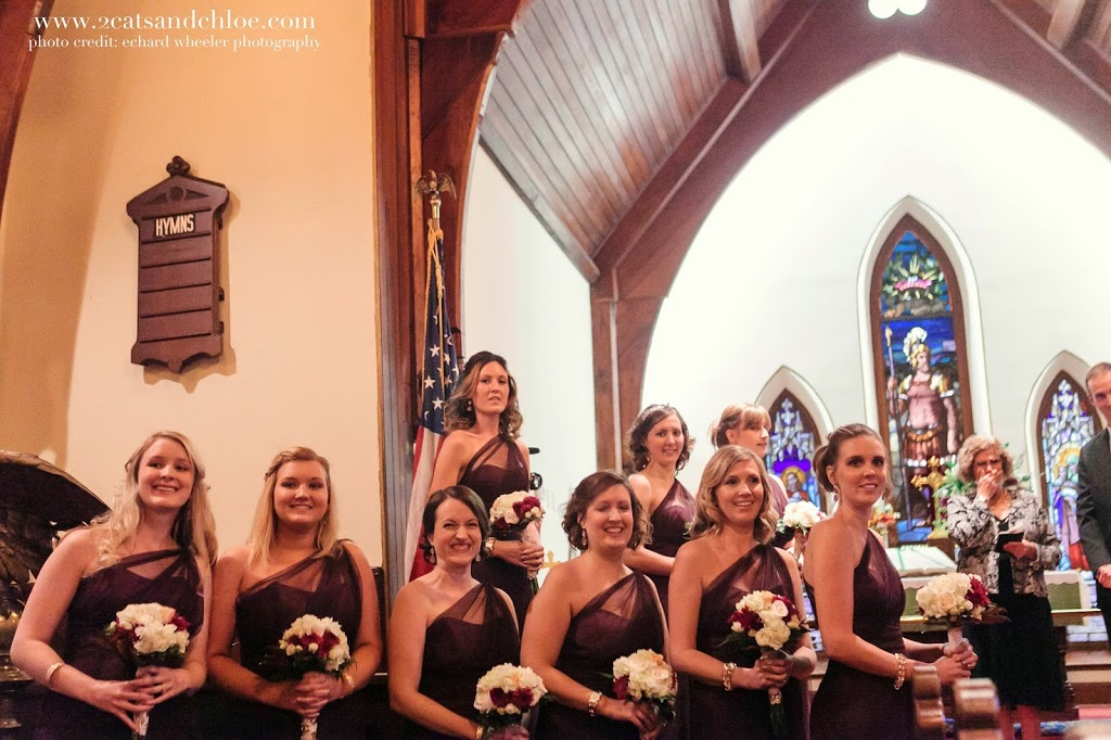 Bridesmaids in Eggplant Purple Dresses, Virginia Weddings