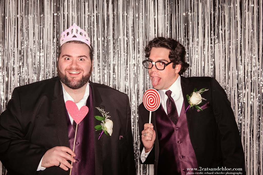 Groomsmen in Black and Dark Purple - photo booth
