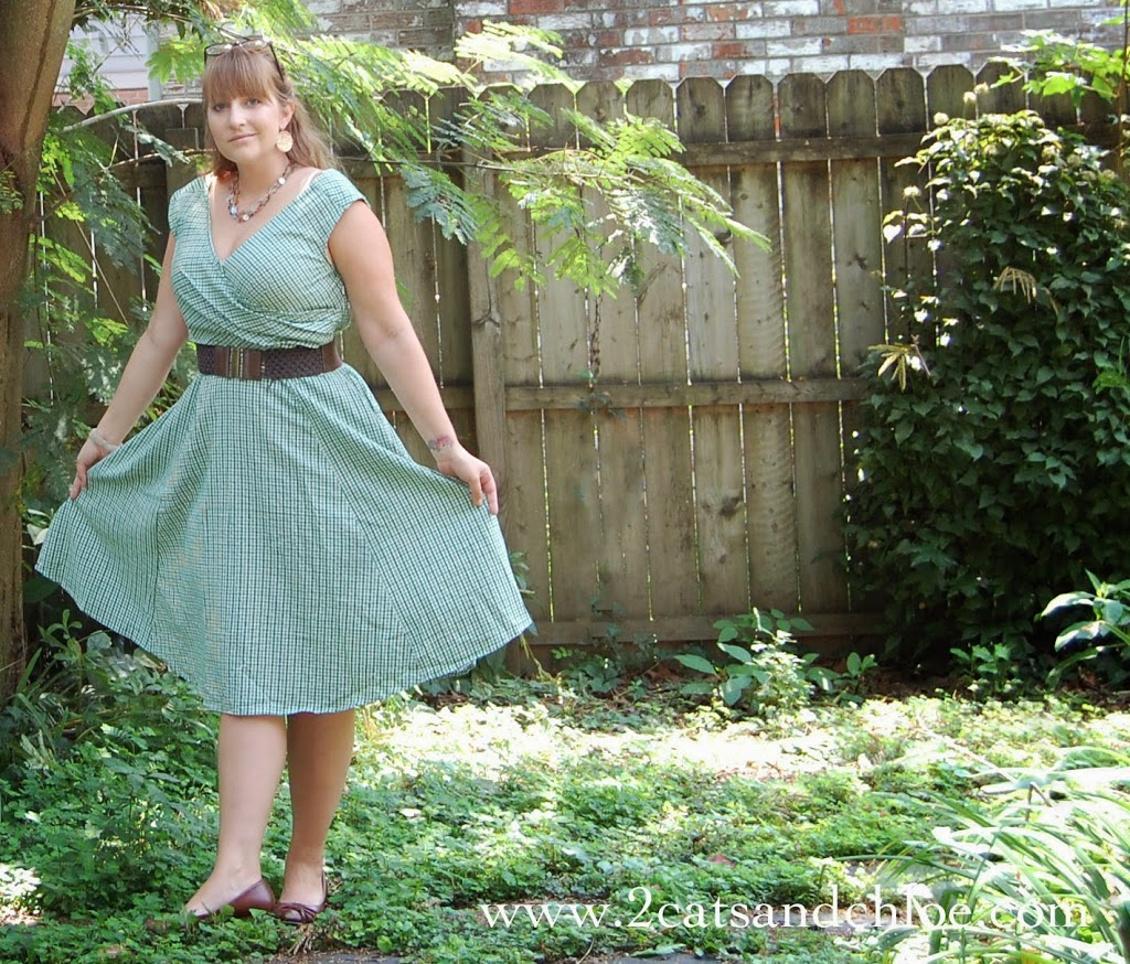 gingham green dress for summer outdoor event