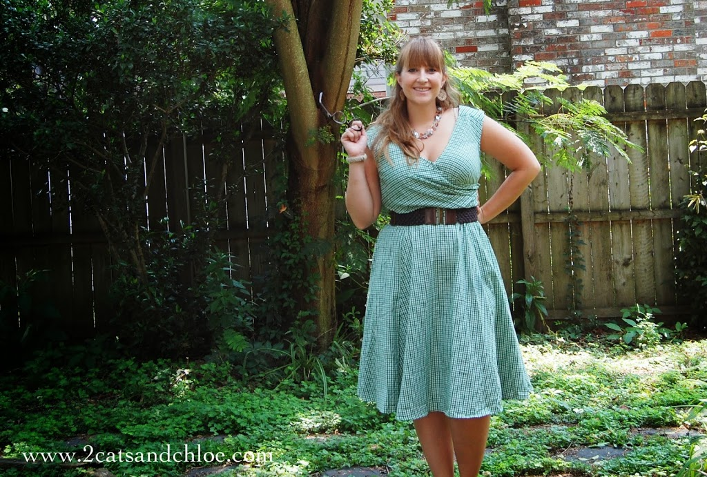 eShakti.com gingham green dress