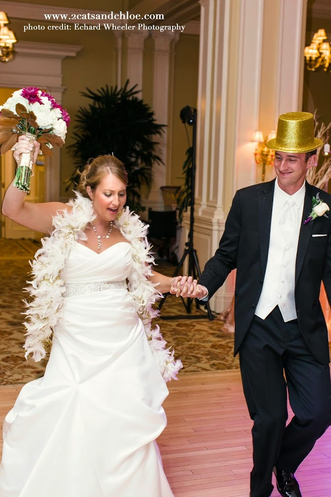 Fun Bride and Groom Wedding Reception Intro with Boa and Top Hat