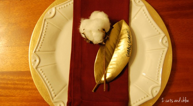 Gold Magnolia Leaf Place Setting