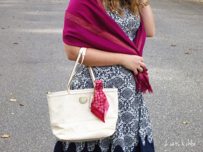White coach purse, pink scarf shawl