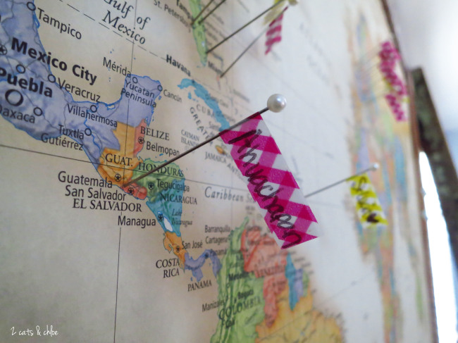2 cats & chloe: pin the countries you travel to, gift for traveler, DIY home decor