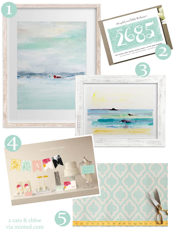 minted.com wish list  // teal and aqua art decor