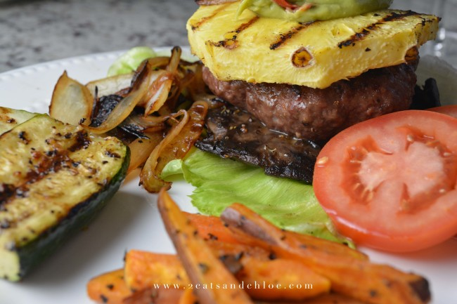 Creative Paleo Burger with pineapple and guac