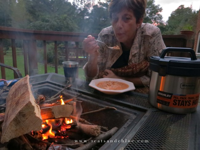 2 cats & chloe: Chili and campfire with mom and stanley