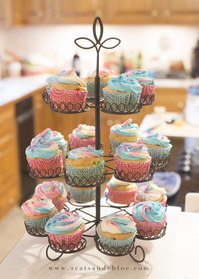 2 cats & chloe: Gender Reveal Pink and Blue Swirl Cupcakes