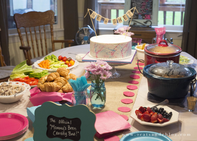 2 cats & chloe: Gender Reveal Menu // Mommy's Craving Buffet