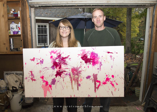 2 cats & chloe: Parents to be, gender reveal, pink paint on canvas