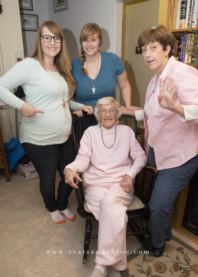 2 cats & chloe: Four Generations at Gender Reveal Party!